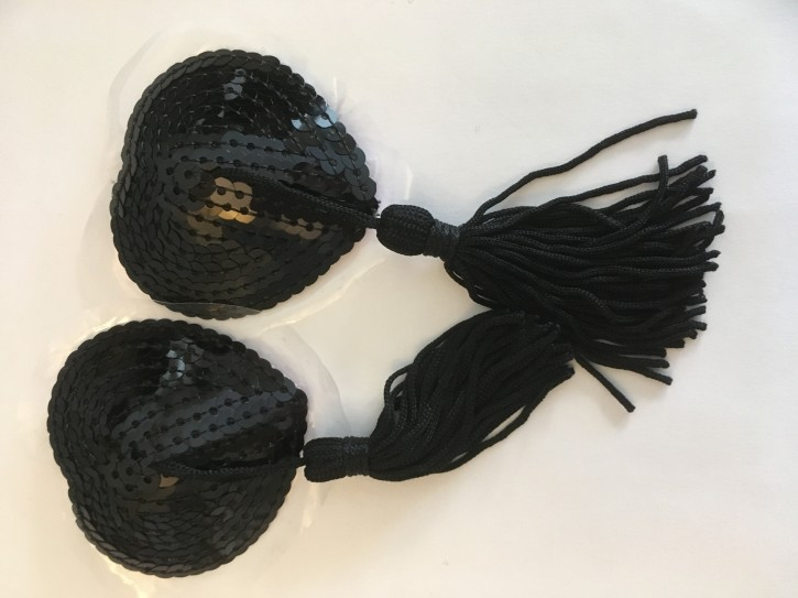 Fancy Nipple Covers Black Tassle
